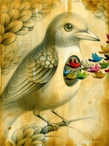 Chris Buzelli Chris Buzelli Small Birds Painting