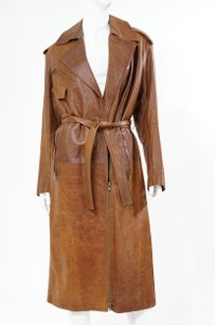 Donna Karan Dkyn Dkny Chocolate Caramel Goat Skin Goat Leather Trench Duster Coat Zipper Steampunk Vintage Cognac, Brown Leather Jacket