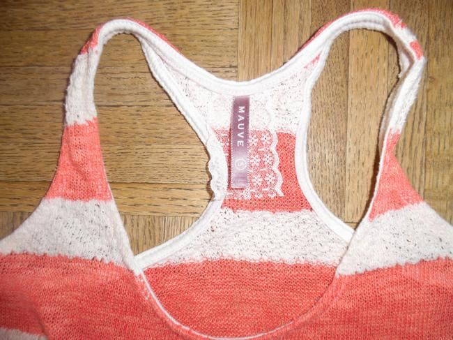 Mauve Sole Boho Short Lacy Top Salmon/Coral Ivory