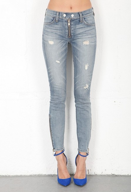 Elizabeth and James Zip Distressed Skinny Jeans-Distressed