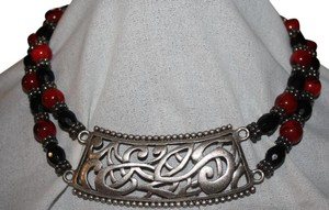 Chico's CHICO'S STUNNING CHUNKY RED AND BLACK BEADED NECKLACE WITH SILVER ADORNMENT