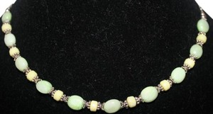 Other STUNNING STERLING SILVER WITH YELLOW AND GREEN PREHNITE BEADED STONES NECKLACE