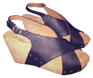 Lucky Brand Wedge Summer Platform Studded Black/Cork Wedges