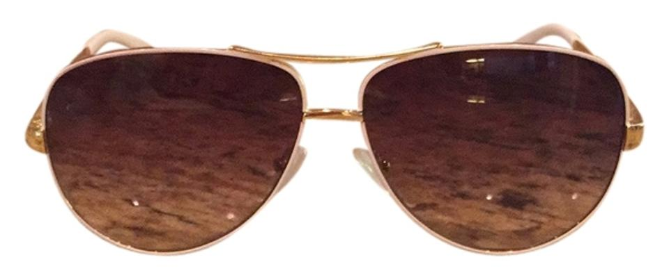 adf54ba61d95 Tory Burch Tory Burch White and Gold Aviator Sunglasses Image 0 ...
