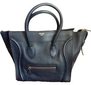Céline Leather Luggage Micro-mini Satchel in navy blue