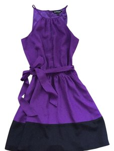 Express Purple Colorblock Dress