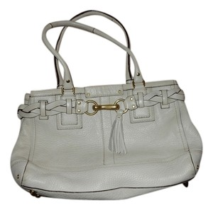 Coach Hampton Tassel Braid Braided Tassels Leather Gold Tote in White