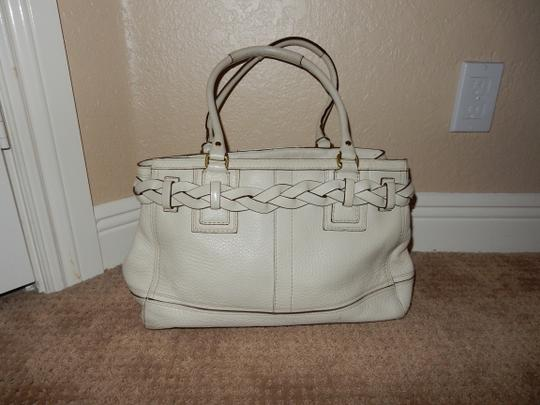 Coach Hampton Tassel Braid Braided Tassels Leather Gold Tote in White Image 1