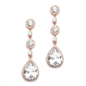 Mariell Best-selling Rose Gold Bridal Earrings With Pear-shaped Cz Drop - Clip On 400ec-rg