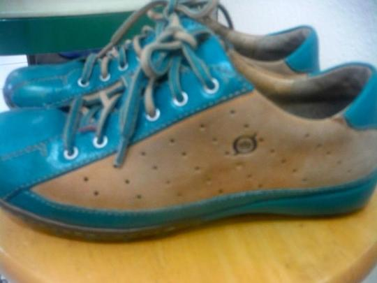 Børn Oxford Leather Bowling Driving teal green and brown Flats