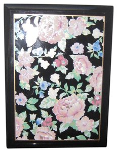 Other Floral Garden in Pink,Green and Blue on Black Lacquer