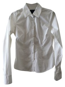 American Eagle Outfitters Fitted Pintucked Button Down Shirt White