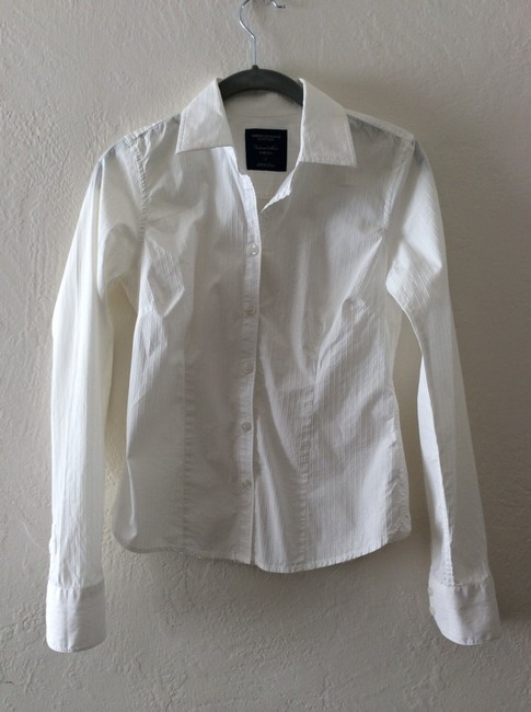 American Eagle Outfitters Fitted Pintucked Pinstriped Classic Button Down Shirt White