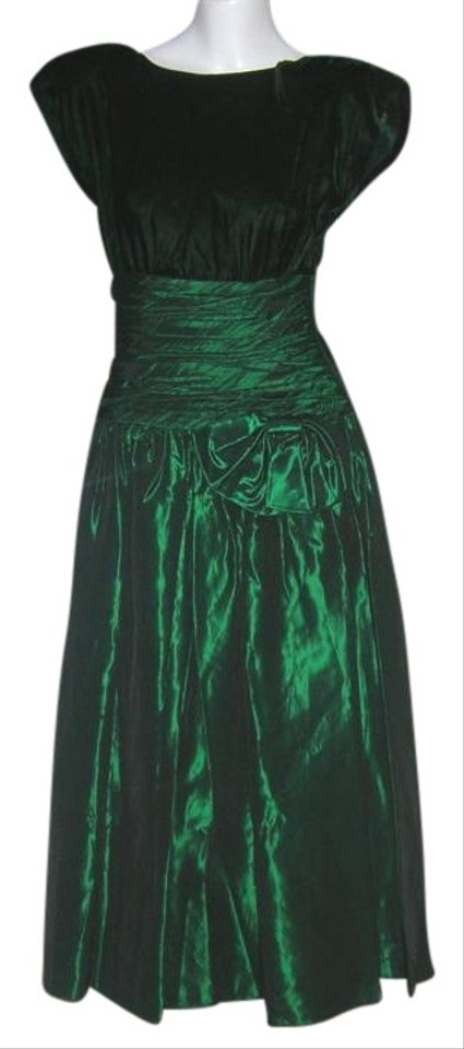 3ac04de6c9a8 Green Vintage 80s Glam Backless Taffeta Velvet Swing Mid-length ...