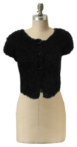 Anthropologie Knotted & Knitted Sweater Crop Sweater Cable Knit Button Down Shirt Black