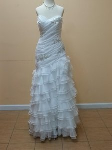 Impression Bridal Diamond White Organza 3106l Formal Wedding Dress Size 8 (M)