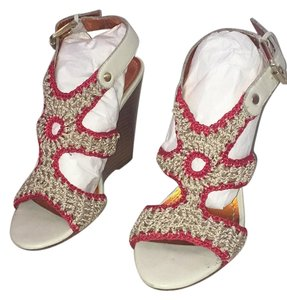 Charles David Red/ Beige Wedges