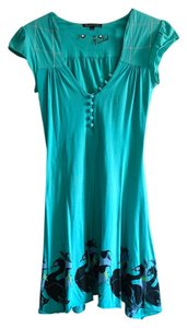 Burn N Violet short dress Turquoise Peacock Graphic on Tradesy