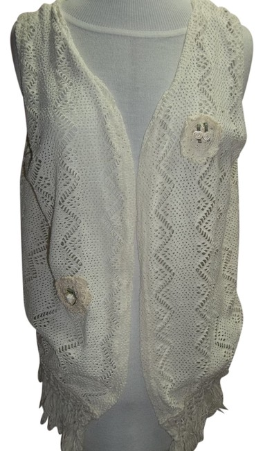 Fuego Crochet Vest Fringe Hem Embellished Size Large Ribbon Flowers Sweater