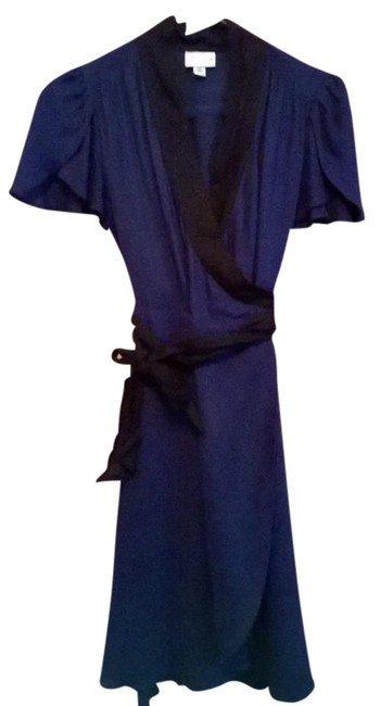 Item - Navy Blue with Black Trim Above Knee Work/Office Dress Size 2 (XS)