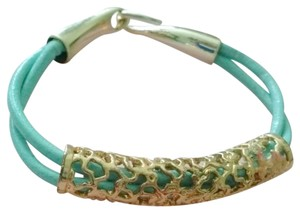 Sale! pastel blue leather with gold filegree' bracelet