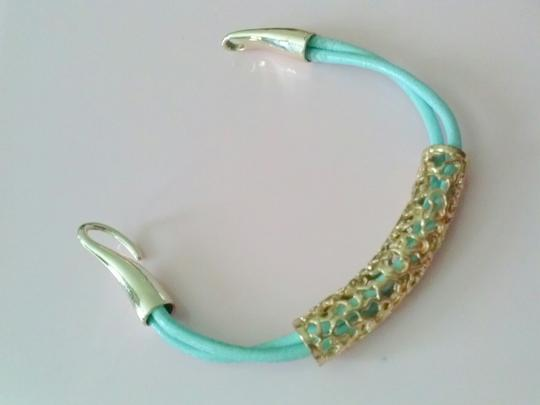 Other Sale! pastel blue leather with gold filegree' bracelet