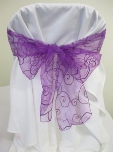 24 Purple Organza Swirl Chair Sashes