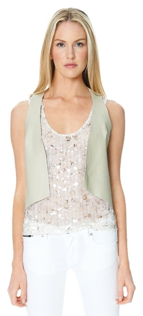 Sandra Weil Leather Taupe Vest