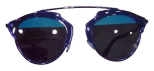 Dior Dior 'So Real' 48mm Mirrored Sunglasses Shiny Blue Havana/Smoke Blue Mirror