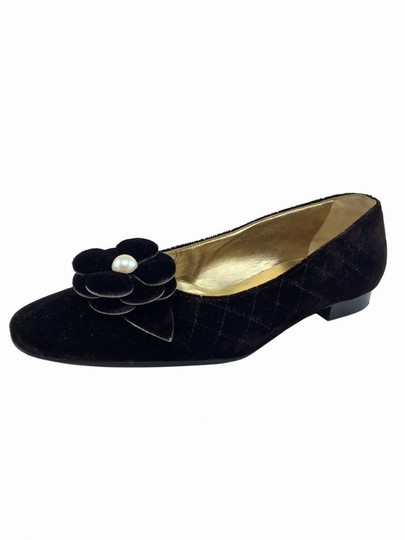 Chanel Pearl Floral Dark Brown Flats