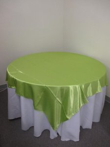 15 Apple Green Satin Overlays