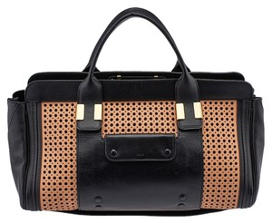 Chloé Wet Sand Perforated Tote in Black & Beige