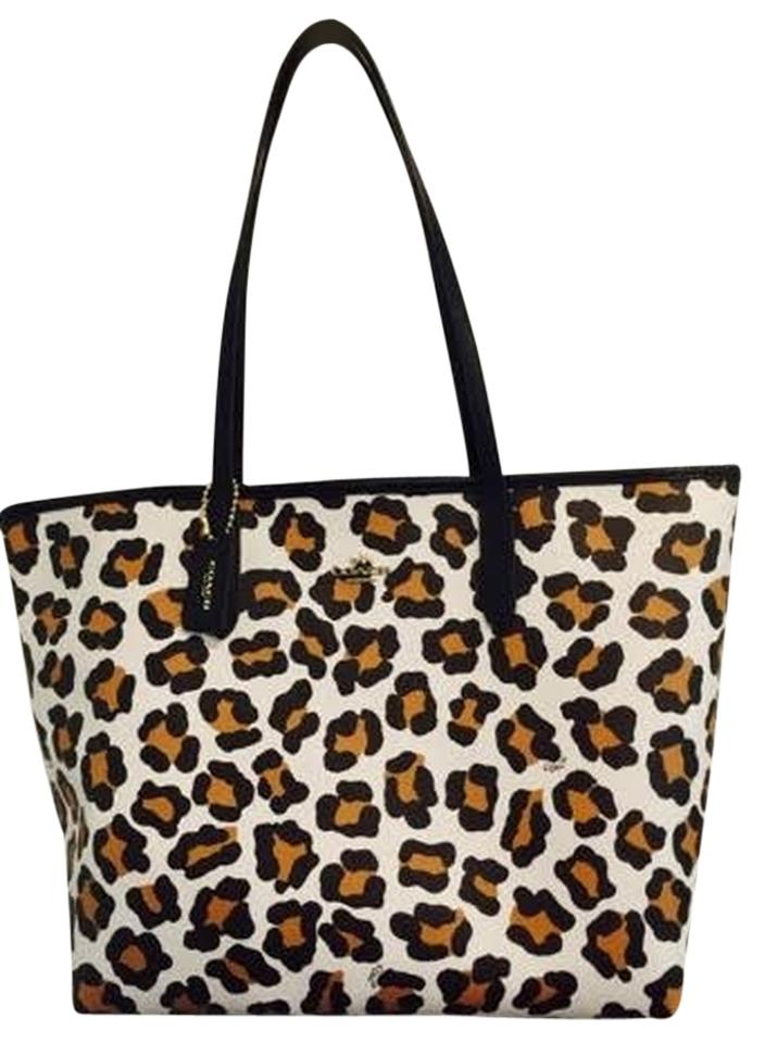 457749148117 Coach City Ocelot Print F35874 Chalk Black Brown Coated Canvas Tote ...