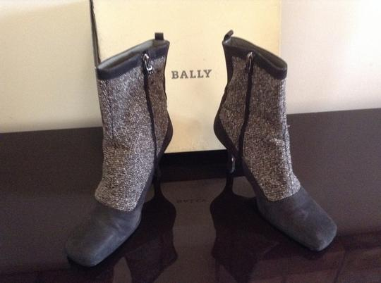 Bally Leather Vintage Tweed Grey Boots