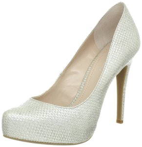 BCBGeneration Platforms High Heels Textured Silver Pumps