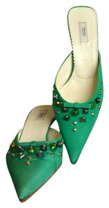 Prada Satin Nylon Bead Stud Womens Heels Bow Pointed Toe Size 35 Size 5 Green Mules