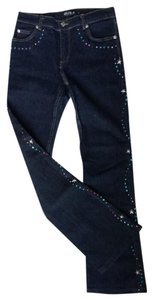 A.B.S. by Allen Schwartz Denim Dark Wash Studded Rhinestones B Boot Cut Jeans-Dark Rinse