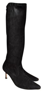 Manolo Blahnik Slouchy Suede Black Boots