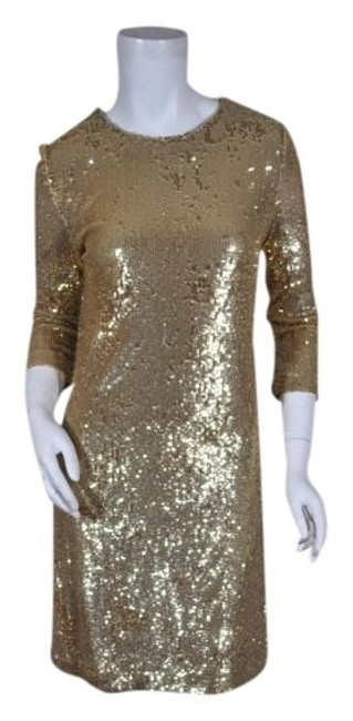 Item - Gold XS Poly/Rayon Sequined Mini Above Knee Night Out Dress Size 0 (XS)