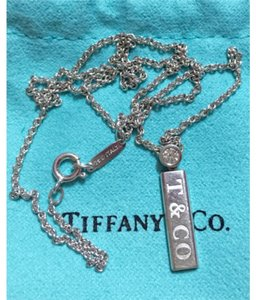 Tiffany & Co. Tiffany & Co - Solid 18k White Gold - Diamond by the Yard Bar Pendant with 16