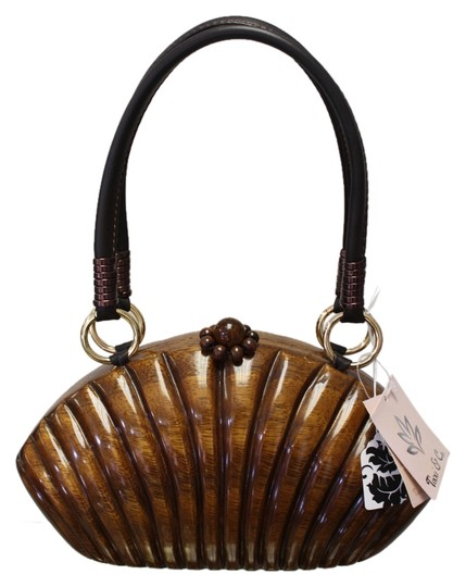 Tixxi & Co Kayla New With Tags Wooden Small Leather Handbag Baguette