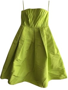 Tibi Wedding Guest Bright Neon Lime Yellow A Line Tea Length Knee Length Strapless Fun Party Pleats Pockets Formal Dress