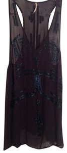 Free People Beaded Viscose Top Eggplant