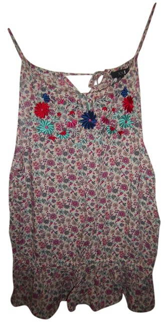 Forever 21 Floral Flowered Embroidered Peplum Ruffle Top Pink, Cream, Red, Blue, Teal, Multi