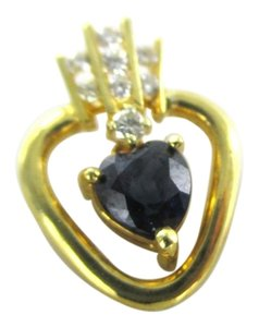 Larry Levine 18K SOLID YELLOW GOLD PENDANT CHARM HEART LARRY DESIGNER 8 GENUINE DIAMOND .15CT