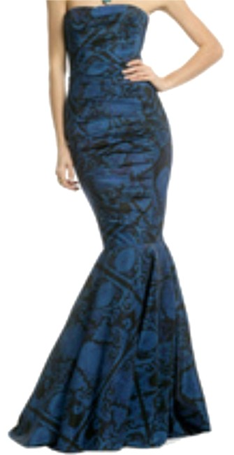 Item - Blue & Black Tie Mermaid Gown Fitted Strapless Gown Long Formal Dress Size 4 (S)
