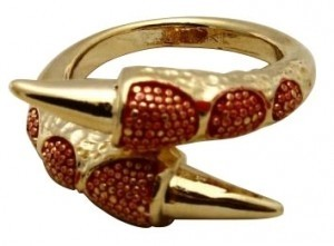 CaliJoules Red Bird Claw Ring