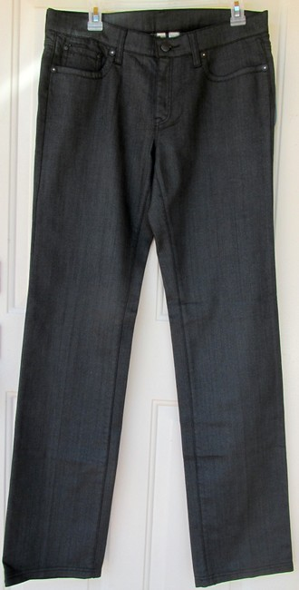 Mango New With Tags Glitter Straight Leg Jeans-Dark Rinse Image 4
