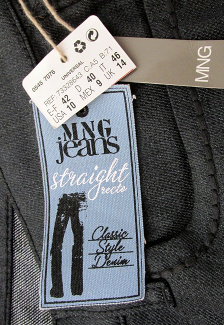 Mango New With Tags Glitter Straight Leg Jeans-Dark Rinse Image 6