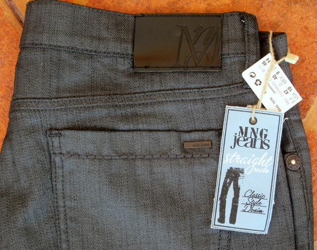 Mango New With Tags Glitter Straight Leg Jeans-Dark Rinse Image 7